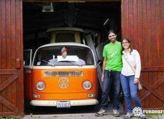 La familia de Camper Van de Ruta